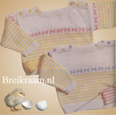 Breipatroon babytruitje   in wit en geel